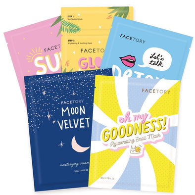 FaceTory Collection Facial Mask Set | For All Skin Types Sheet Mask FaceTory 5 Count