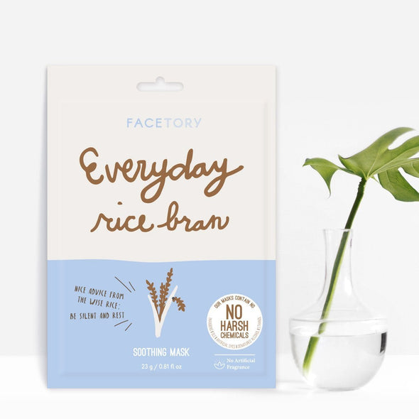 FaceTory Everyday Rice Bran Soothing Mask - No Harsh Chemicals Sheet Mask FaceTory