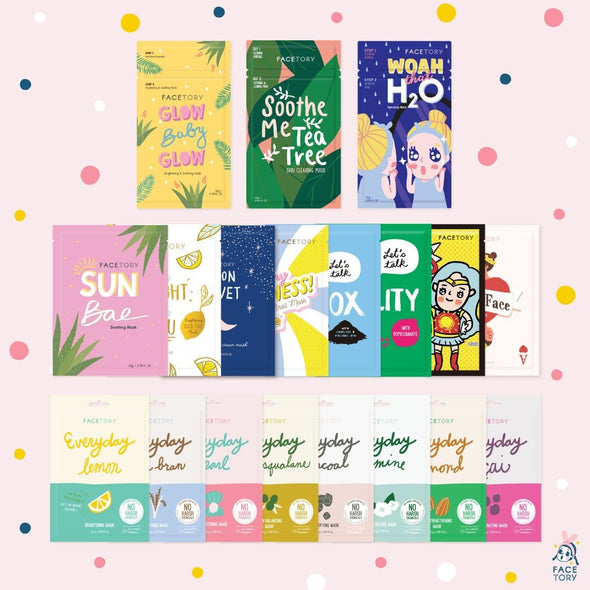 FaceTory Facial Sheet Mask Collection (19 Sheet Masks) Sheet Mask FaceTory