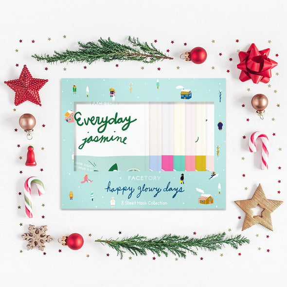 FaceTory Happy Glowy Days Holiday Gift Set- 8 Everyday Sheet Mask Edition Sheet Mask FaceTory
