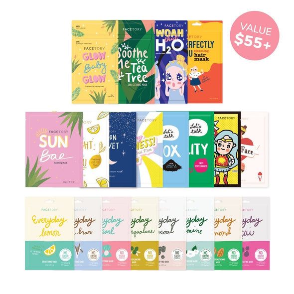 FaceTory Mask Collection - Sheet Masks and Hair Mask (20pc) Sheet Mask FaceTory