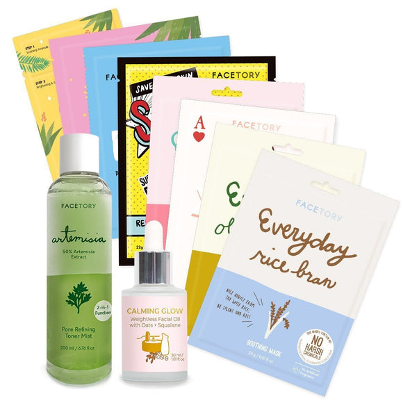 FaceTory Skin Type Bundle (8 Sheet Masks + 2 Skincare Products) Skin Care FaceTory Combo