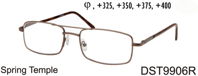 DST9906R - Wholesale Men's Rectangular Style Metal Reading Glasses in Gold