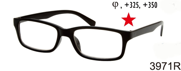 3971R - Wholesale Ultra Bargain Unisex Rectangular Reading Glasses in Black