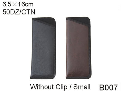 B007 - Wholesale Leatherette Sleeve Pouch for Small Eyeglasses in Brown & Black