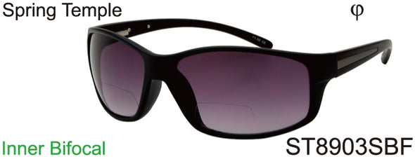 ST8903SBF - Wholesale Sports Wrap Style BiFocal Reading Sunglasses in Black
