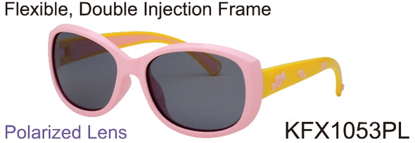 KFX1053PL - Wholesale Kid's Polarized TPE Frame Sunglasses for Girls in Pink