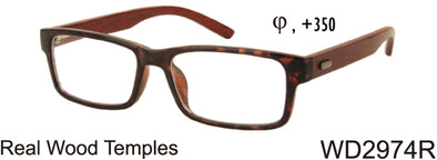 WD2974R - Wholesale Men's Reading Glasses with Real Bamboo Temples in Tortoise