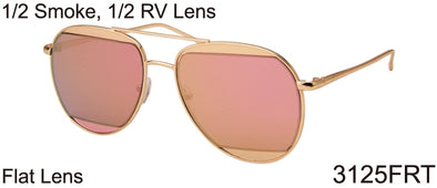 3125FRT - Wholesale Fashion Aviator Sunglasses in Gold