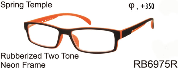 RB6975R - Wholesale Unisex Rubberized Neon Frame Reading Glasses in Orange