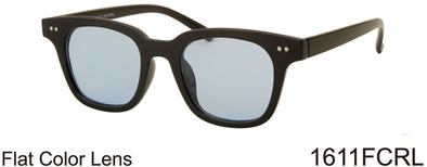 1611FCRL -Wholesale Retro Square Sunglasses with Colored Flat Lens in Black