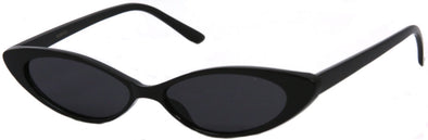 1629FSD - Wholesale Slim Retro Cat Eye Sunglasses in Black