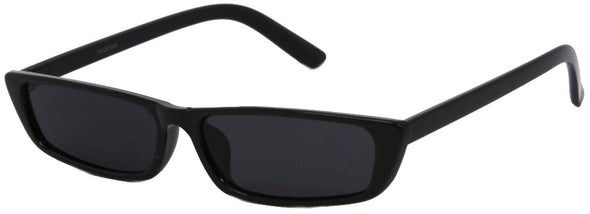 1632FSM -Wholesale Slim and Thin Retro Rectangular Sunglasses in Black