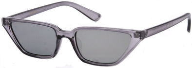 1634FSM - Wholesale Slim Retro Trapezoid Cat Eye Sunglasses in Grey