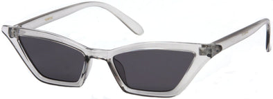 1636FSD - Slim Pointy Cat Eye Flat Lens Sunglasses in Grey