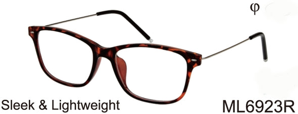 ML6923R - Wholesale Unisex Light Temple Reading Glasses in Tortoise