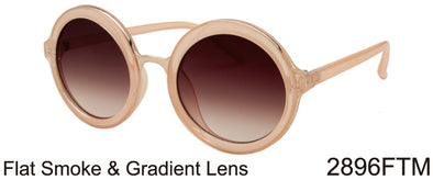 2896FTM - Wholesale Plastic-Metal Round Sunglasses in Gold