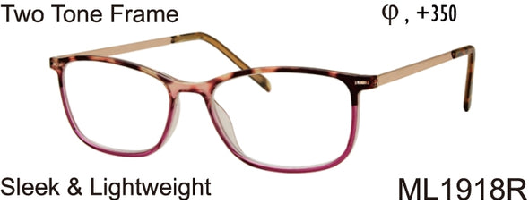 ML1918R - Wholesale Women's Sleek and Lightweight Reading Glasses in Red