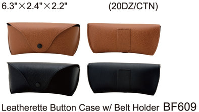 BF609 - Wholesale Leatherette Sunglasses Case with Belt Holder in Brown and Black