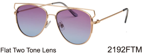 2192FTM - Wholesale Fashion Metal Flat Top Sunglasses in Gold