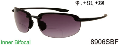 8906SBF - Wholesale Men's Rimless Rectangular Sport Style Bifocal Reading Sunglasses in Black