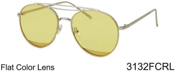 3132FCRL - Wholesale Double Bar Aviator Sunglasses with Colored Flat Lens in Silver