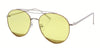 3132FCRL - Double Bar Aviator Sunglasses with Colored Flat Lens