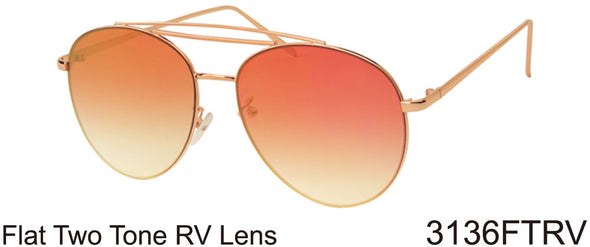 3136FTRV -Wholesale Women's Color Mirrored Aviator Style Sunglasses in Silver Golden Brown