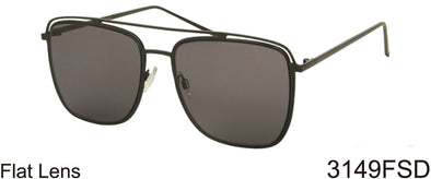 3149FSD -Wholesale Navigator style flat lens sunglasses in gun metal