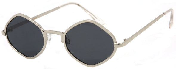 3154FSM - Wholesale Retro Geometric Hexagonal Sunglasses in Silver
