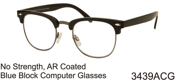 3439ACG - Wholesale Blue Light Blocking AR Coated Club Style Computer Glasses