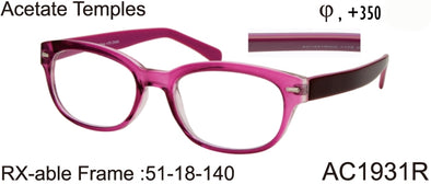 AC1931R - AC1932R - Wholesale Women's RX-able Reading Glasses with Acetate Temples in Pink