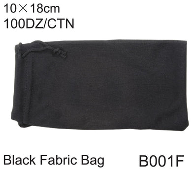 B001F - Wholesale Black Fabric Drawstring Pouch for Sunglasses