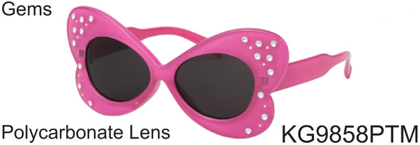 KG9858PTM - Wholesale Kids Butterfly Sunglasses with Gems