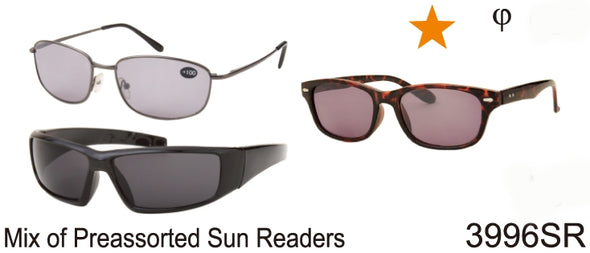 3996SR - Wholesale Bargain Promotional Reading Sunglasses in a mixed dozen box