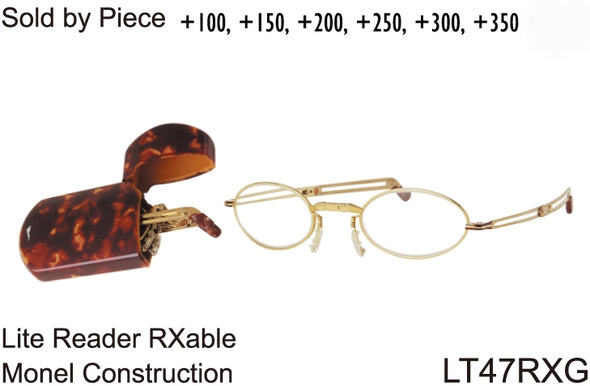 LT47RxG - Wholesale Optical Grade RX-able Folding Reading Glasses with Case in Gold