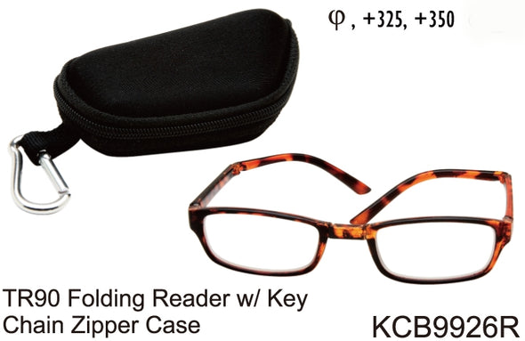 KCB9926R - Wholesale TR-90 Folding Reading Glasses with Key Chain Zipper Case in Tortoise