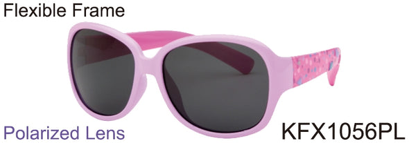KFX1056PL -  Wholesale Kid's Polarized TPE Frame Sunglasses for Girls in Pink
