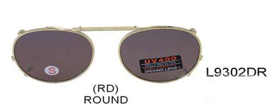 L9302DR - Wholesale Clip On/Large Round 52mm Sunglasses