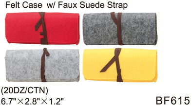 BF615 - Wholesale Eyewear Felt Cases with Faux Suede Straps in Red, Yellow, Grey and Charcoal