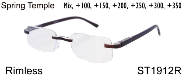 ST1912R - Wholesale Unisex Rimless One Piece Reading Glasses in Brown