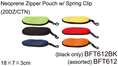 BFT612BK - Wholesale Neoprene Zipper Pouch with Spring Clip in Black