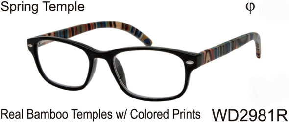 WD2981R - Wholesale Men's Reading Glasses with Real Bamboo Temples in Black