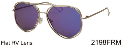 2198FRM - Wholesale Fashion Aviator Color Mirror Flat Lens Sunglasses in Gold
