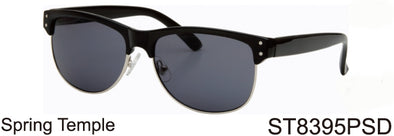 ST8395PSD - Wholesale Club Style Half Rim Sunglasses in Black