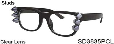SD3835PCL - Wholesale Square Spiky Studs Clear Lens Glasses