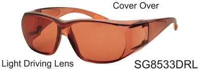 SG8533DRL - Wholesale Cover Over Sunglasses with Driving Lens in Brown