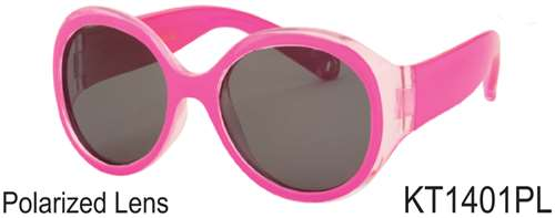 KT1401PL - Wholesale Kid's Polarized Sunglasses for Girls in Pink