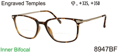8947BF - Unisex Rectangular Bifocal Reading Glasses in Tortoise