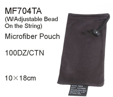 MF704TA -  Wholesale Black Microfiber Carrying Pouch with Adjustable Bead & String